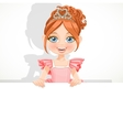 Beautiful little ballerina girl in tiara hold big vector image