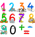 numbers with cartoon animals vector image
