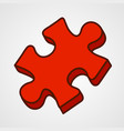 cartoon puzzle piece icon vector image