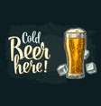 cold beer here calligraphy lettering vintage vector image