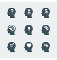 human head icons set vector image
