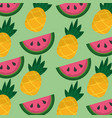 tropical fruits watermelon and pineapple seamless vector image