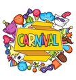 Carnival party kawaii background Cute cats vector image