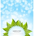 Abstract blue background with leaves vector image vector image