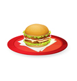 burger in red dish vector image vector image