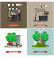 set of investigation posters in flat style vector image