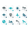 stylized astronautics and space and universe icons vector image vector image