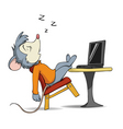 cartoon mouse and laptop vector image vector image