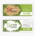 Christmas leaves border theme gift voucher vector image