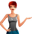 Beautiful coquette lady upper body portrait of a vector image