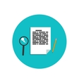 Flat magnifying glass with page and pencil vector image