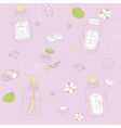 Sweet seamless pattern with sketchy spa stuff vector image