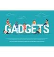 Gadgets concept of young people using vector image