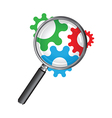 magnifying glass cogs vector image