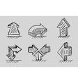 Hand drawn 3d arrows black icon set vector image