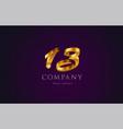 13 thirteen gold golden number numeral digit logo vector image