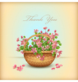 Spring wicker basket cherry flowers Thank you card vector image vector image