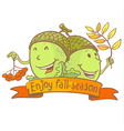 acorn doodle characters vector image