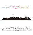 London skyline linear style with rainbow vector image vector image
