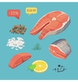 salmon steak steak fish Fresh organic seafood vector image