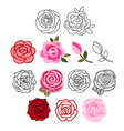 Roses with leaves set vector image