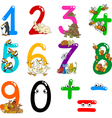 numbers with cartoon animals vector image vector image
