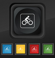 Cyclist icon symbol Set of five colorful stylish vector image
