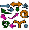 Scribbled color arrows set vector image