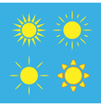 Sun icons set blue Collection yellow signs vector image