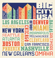 typography design with United States cIties vector image