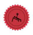 pink circular seal of man with training vector image