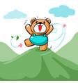 cute happy bear stand on the mountain xa vector image