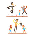 rope walker and magician performing before happy vector image