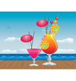 Cocktail on wood table3 vector image vector image