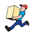 delivery person worker running delivering box vector image