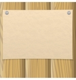 Paper sheet on wooden wall vector image vector image