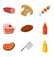 bakery cooking icons set cartoon style vector image