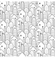 city seamless pattern in black and white vector image