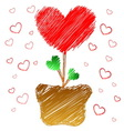 Heart tree in doodle style vector image
