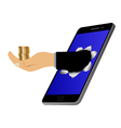 Hole on the screen and hand with coins vector image
