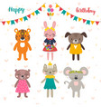 set of cute cartoon animals for happy birthday vector image