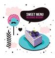 Sweet menu Delicious dessert blackberry cake vector image