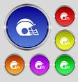 football helmet icon sign Round symbol on bright vector image