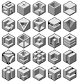 abstract 3d cube objects vector image