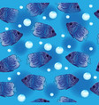 angel fish seamless pattern underwater background vector image