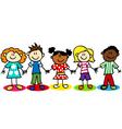 Stick-figure-ethnic-diversity-kids-T vector image