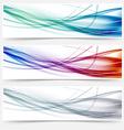 Wave headers set - swoosh hi-tech lines vector image vector image