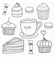 set of hand drawn cakes sweets tea cup vector image