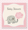baby girl shower card with little elephant vector image
