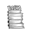 Doodle mono color style stack of books vector image